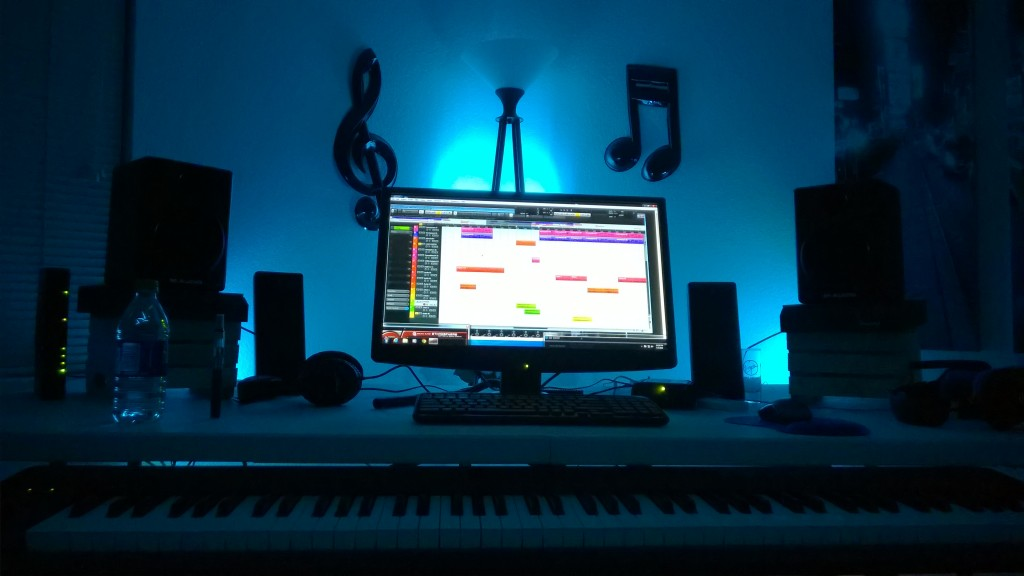 Late night recording with mood lighting.